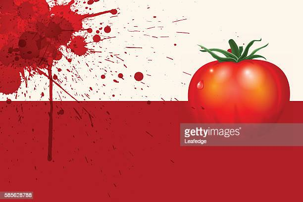 ilustraciones, imágenes clip art, dibujos animados e iconos de stock de la tomatina background [splattering and tomato] - valencia spain