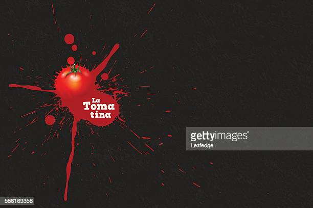 la tomatina background [splattering tomato] - comunidad autonoma de valencia stock illustrations