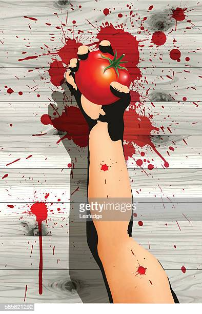 la tomatina background [throwing a tomato] - comunidad autonoma de valencia stock illustrations