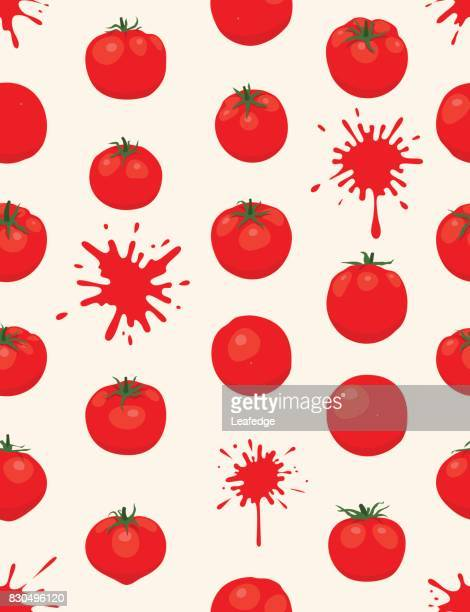 la tomatina background [tomatos seamless pattern] - comunidad autonoma de valencia stock illustrations