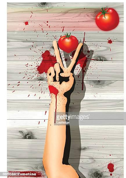la tomatina background[handsign and the tomatos] - valencia spain stock-grafiken, -clipart, -cartoons und -symbole