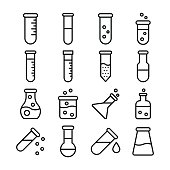 Lab Equipment Line Vector Icons Set