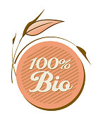 Label 100% Bio With Leaves