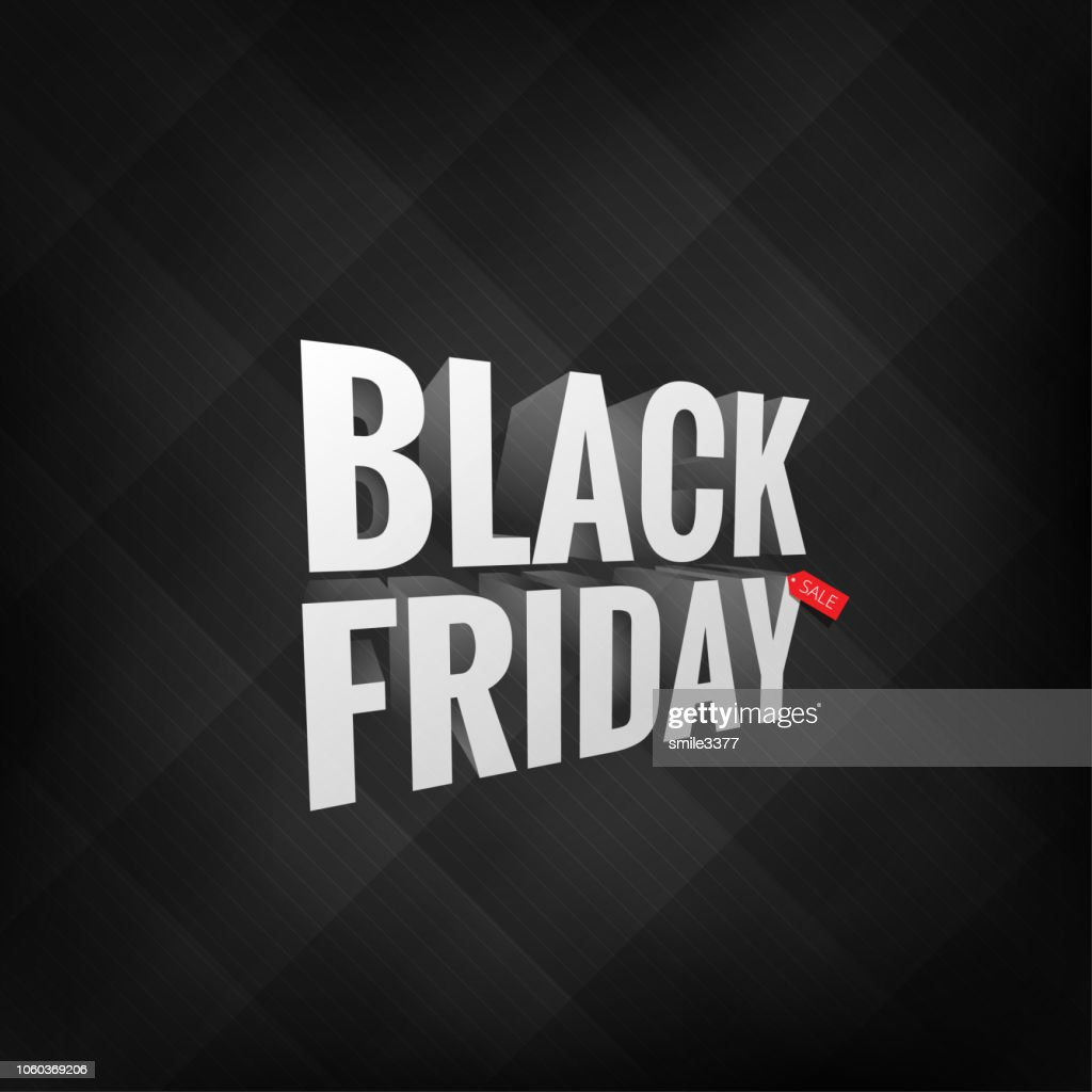 3D label Black Friday on black background