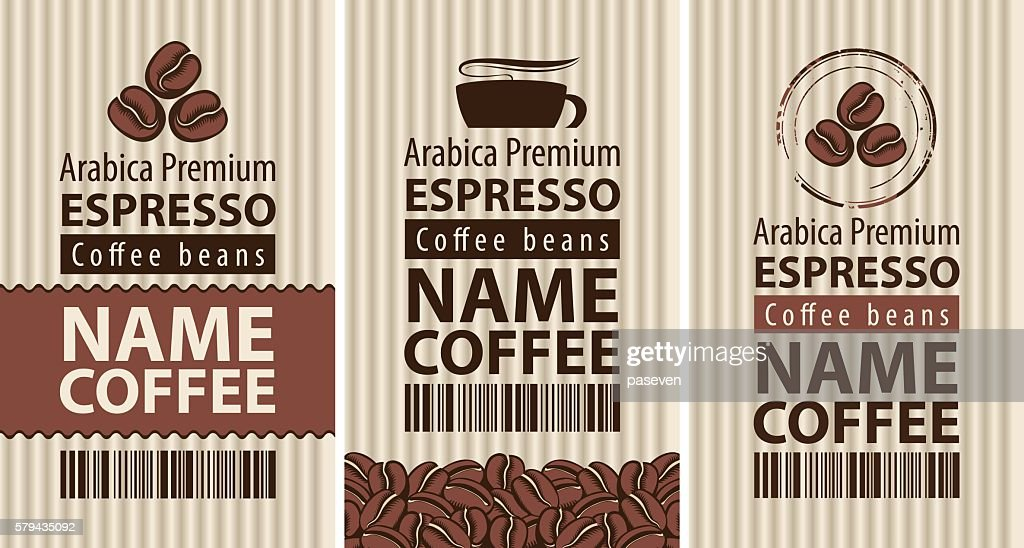 label coffee with coffee beans and cup