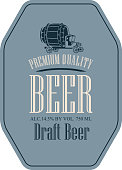 label for draft beer with truck car in retro style