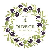 Label for olive oil wreath of black and green olives