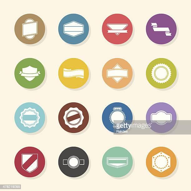 stockillustraties, clipart, cartoons en iconen met label icons set 1 - color circle series - gekarteld
