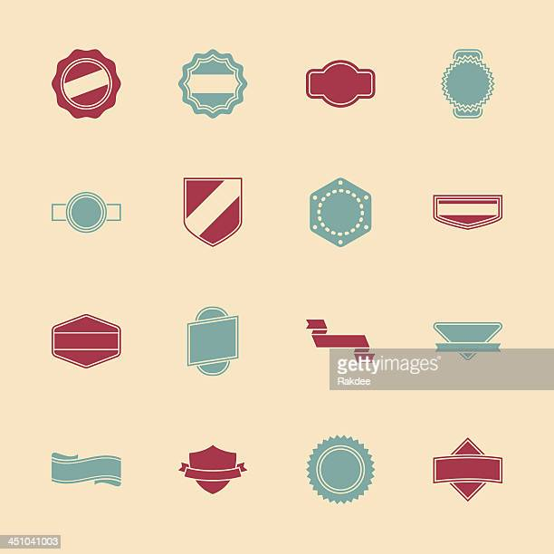 label icons set 1 - color series | eps10 - serrated stock illustrations, clip art, cartoons, & icons