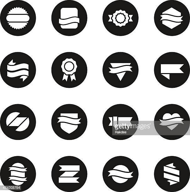 label icons set 3 - black circle series - serrated stock illustrations, clip art, cartoons, & icons