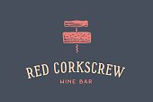Label of wine bar with corkscrew
