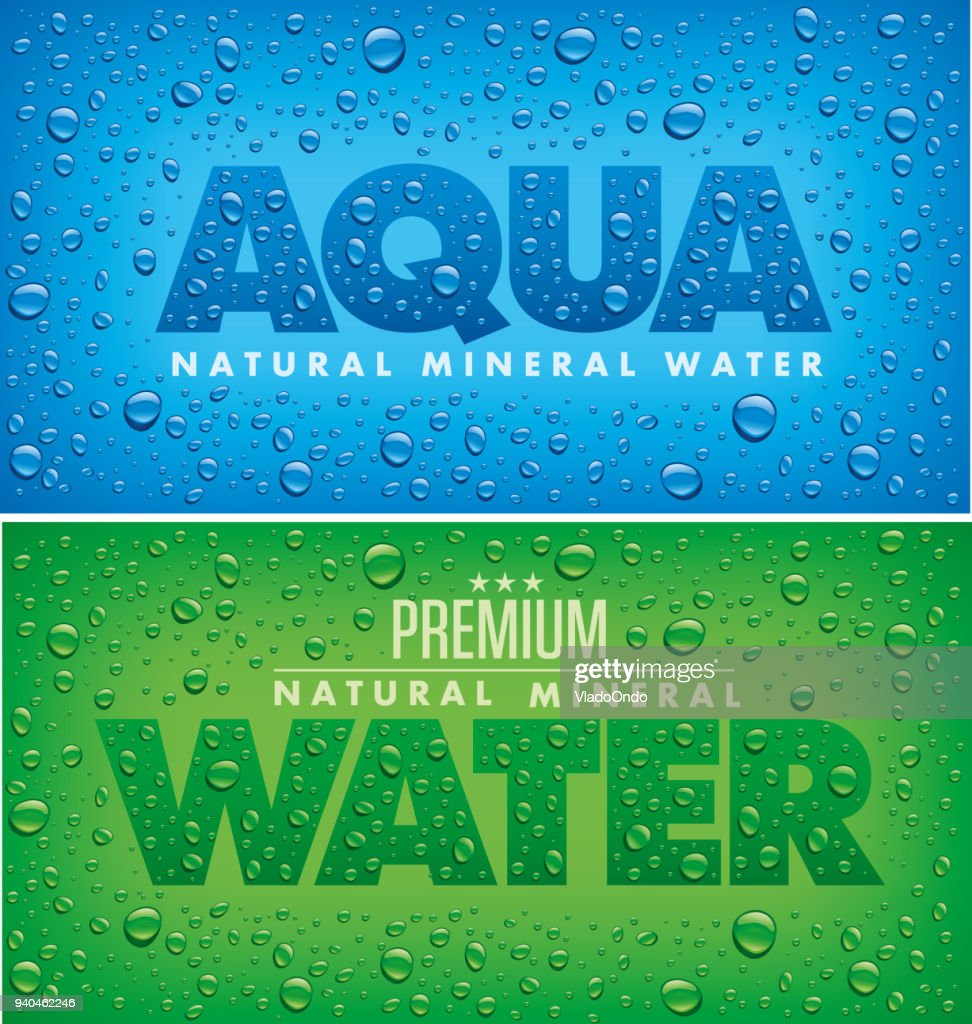 label package design for mineral water with many water drops