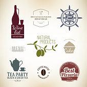Label set for restaurant