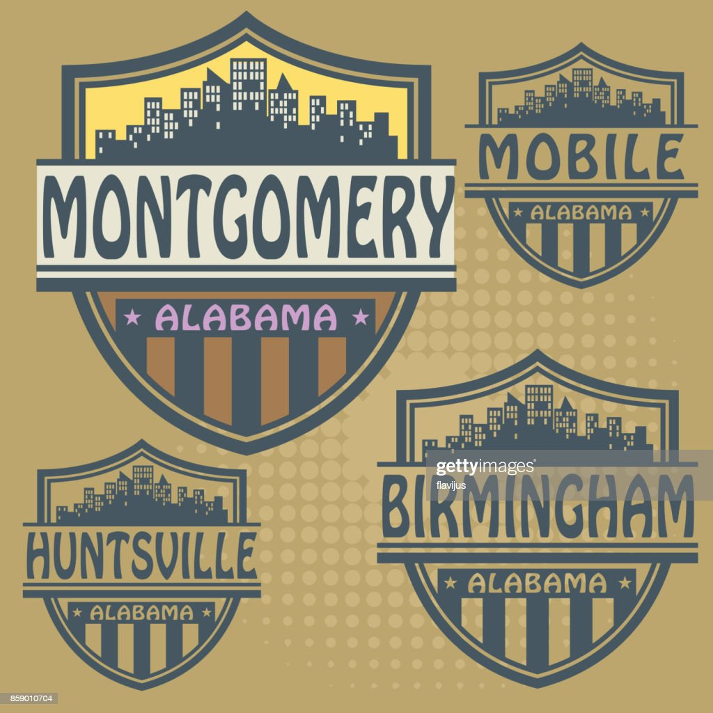 Label set with names of Alabama cities