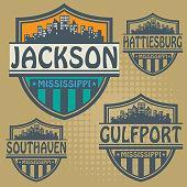 Label set with names of Mississippi cities