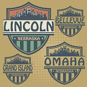 Label set with names of Nebraska cities