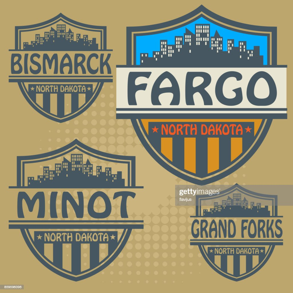 Label set with names of North Dakota cities