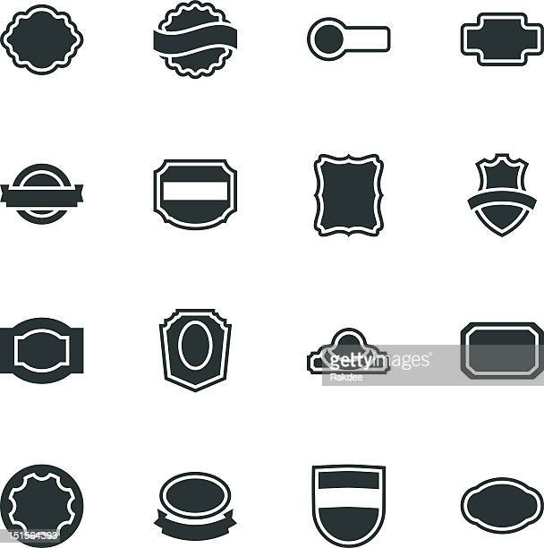 label silhouette icons | set 2 - serrated stock illustrations, clip art, cartoons, & icons