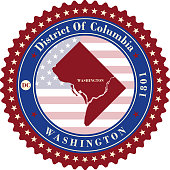 Label  sticker cards of District of Columbia USA