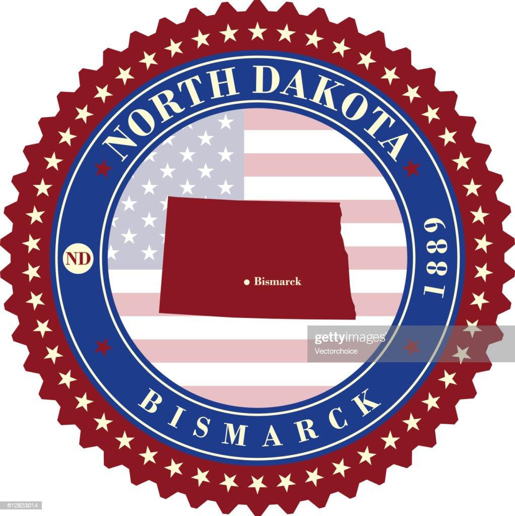Label sticker cards of State North Dakota USA
