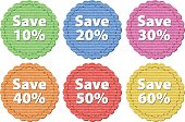 Label templates with different amount of discounts