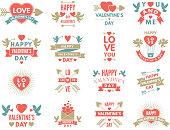 Labels and symbols of loves. St valentine day pictures for scrapbook design