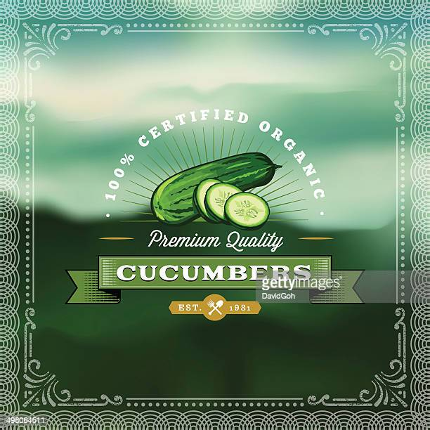 f&b labels - cucumbers - cucumber stock illustrations, clip art, cartoons, & icons
