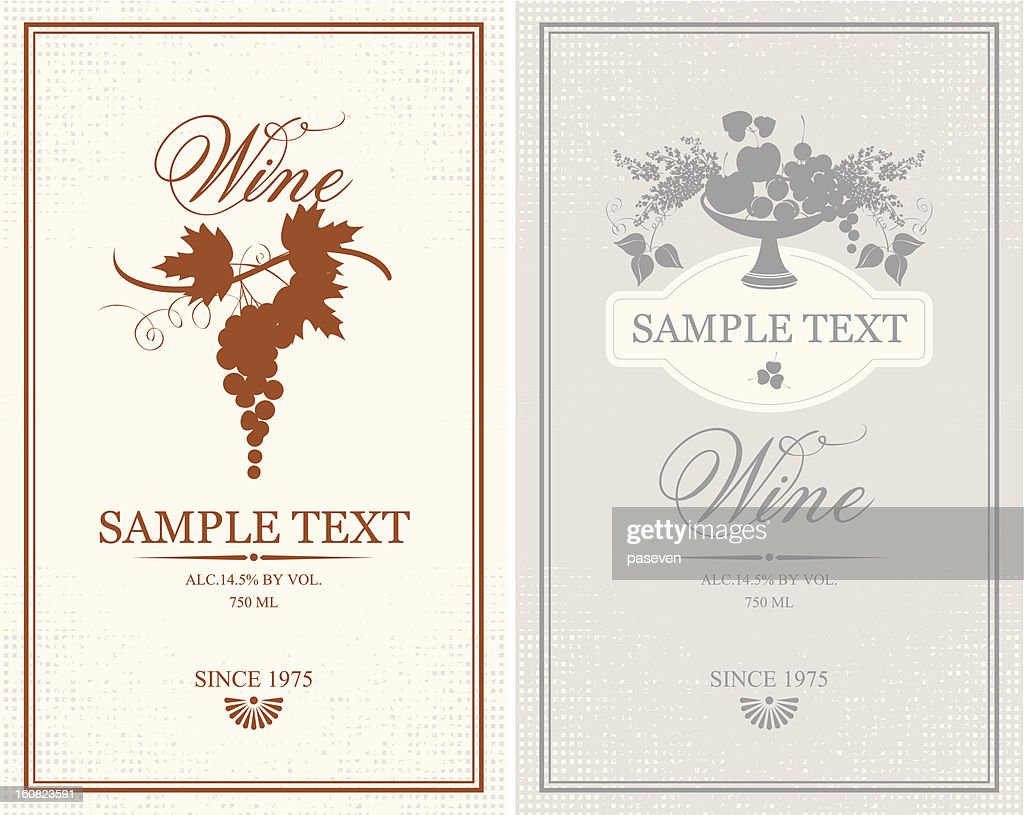 Labels for wine bottles with sample text