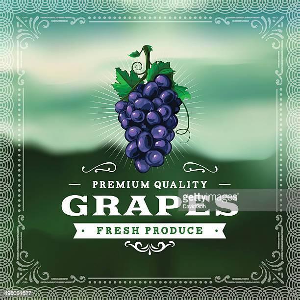 f&b labels - grapes - grape stock illustrations, clip art, cartoons, & icons