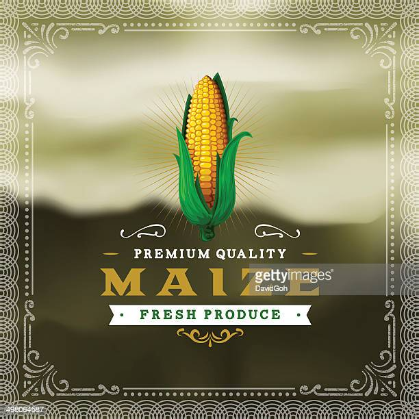 f&b labels - maize - corn stock illustrations, clip art, cartoons, & icons