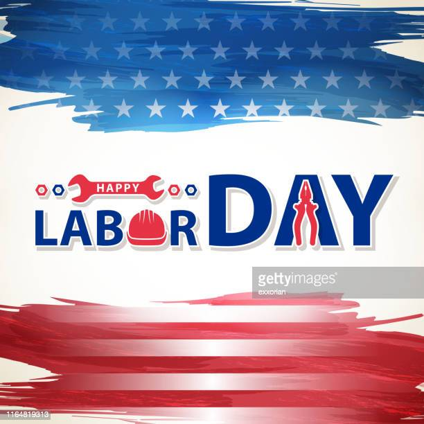 labor day & american flag - labour day stock illustrations