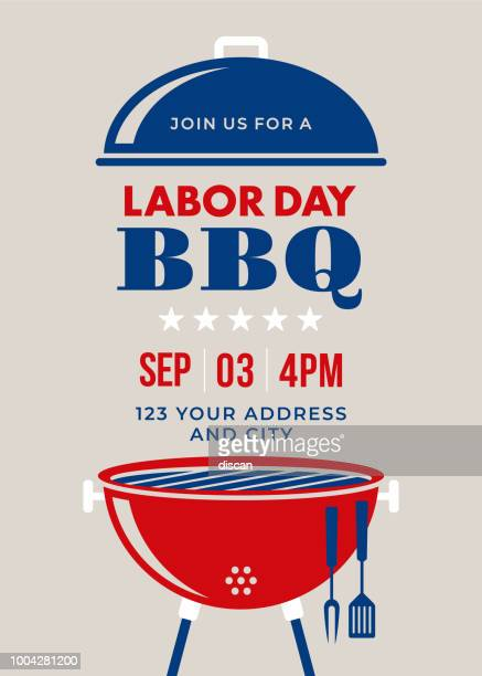 labor day bbq party invitation - labour day stock illustrations