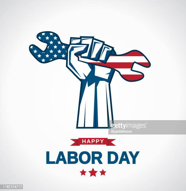 labor day card. hand holding wrench. vector illustration. - labour day stock illustrations