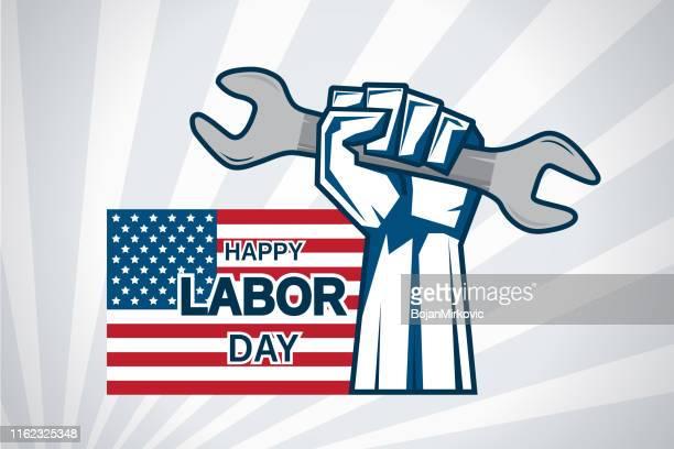 ilustrações, clipart, desenhos animados e ícones de cartão do dia do trabalho com chave da terra arrendada da mão e bandeira dos eua. vetor - dia do trabalhador