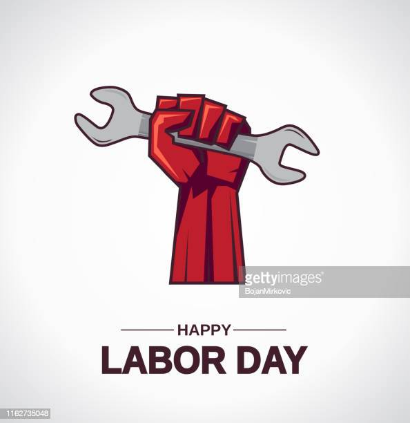 labor day card with hand holding wrench. vector - labour day stock illustrations