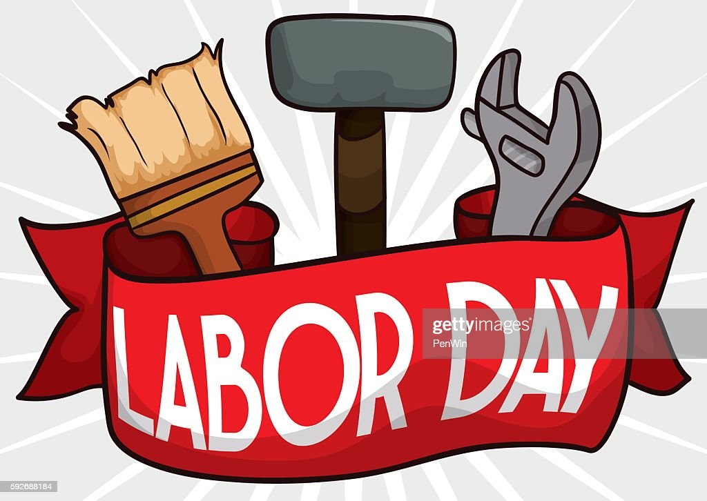 Labor Day Design with Hammer, Wrench and Brush behind Ribbon