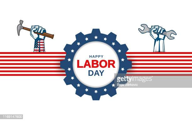 labor day greeting card with hand holding wrench and hammer. vector - labour day stock illustrations