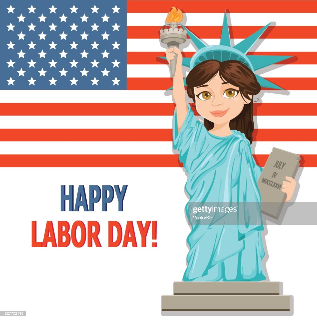Labor Day Greeting Card With Usa Flag And Girl Dressed In A Costume