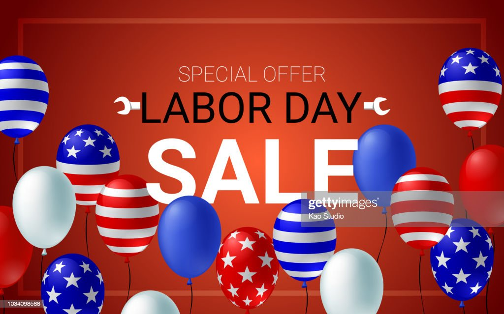 Labor day sale poster flyer banner vector illustration. American flag balloon on red background design. Labor day celebration concept advertising.