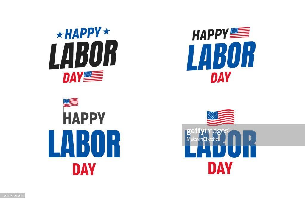 Labor Day USA typography set. Typography logo for USA Labor Day. Happy Labor Day USA 4th of September