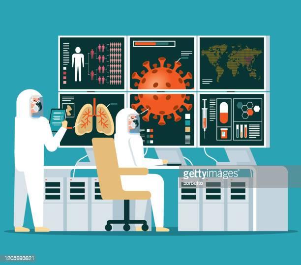ilustraciones, imágenes clip art, dibujos animados e iconos de stock de laboratorio - análisis - coronavirus - arma biológica