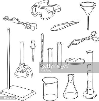 Laboratory Equipment In Black And White stock illustration