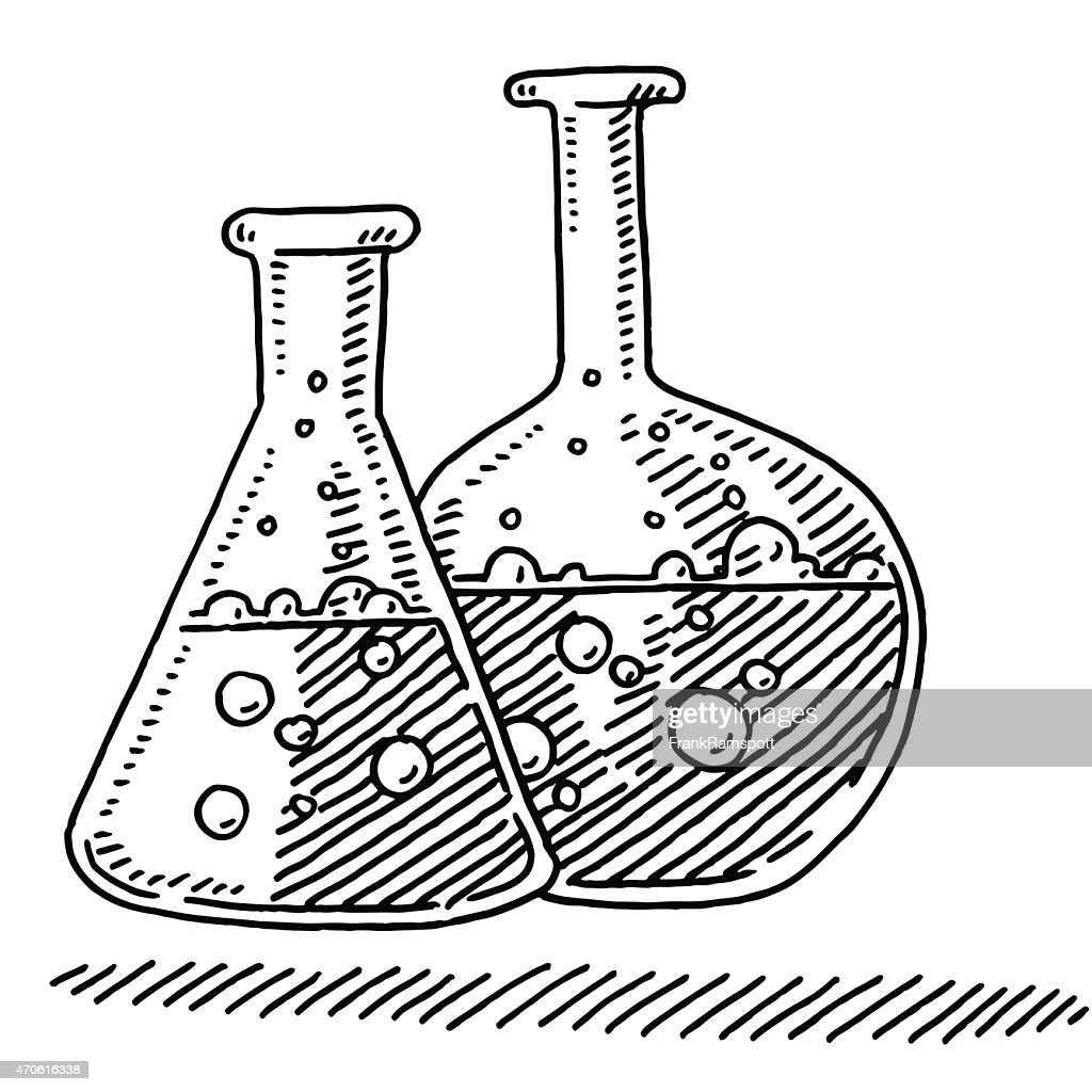 Line Drawing Chemistry : Laboratory flasks chemistry symbol drawing vector art