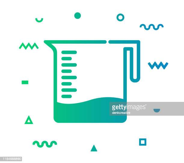 laboratory line style icon design - volume fluid capacity stock illustrations