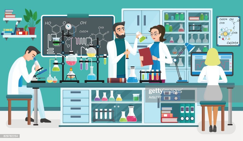 Laboratory people assistants working in scientific medical biological lab. Chemical experiments. Cartoon vector illustration.