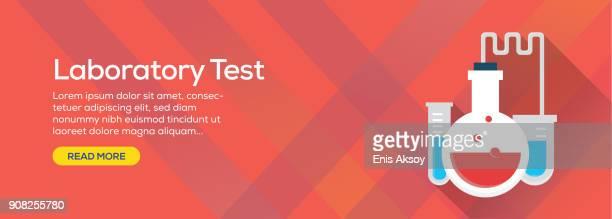 ilustraciones, imágenes clip art, dibujos animados e iconos de stock de banner de web de prueba de laboratorio - diseño plano