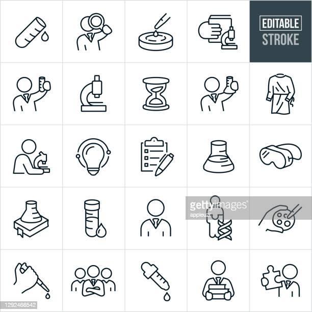 illustrazioni stock, clip art, cartoni animati e icone di tendenza di icone di laboratorio a linea sottile - tratto modificabile - ricerca