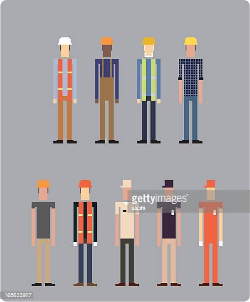laborer (vector) - contractor stock illustrations, clip art, cartoons, & icons