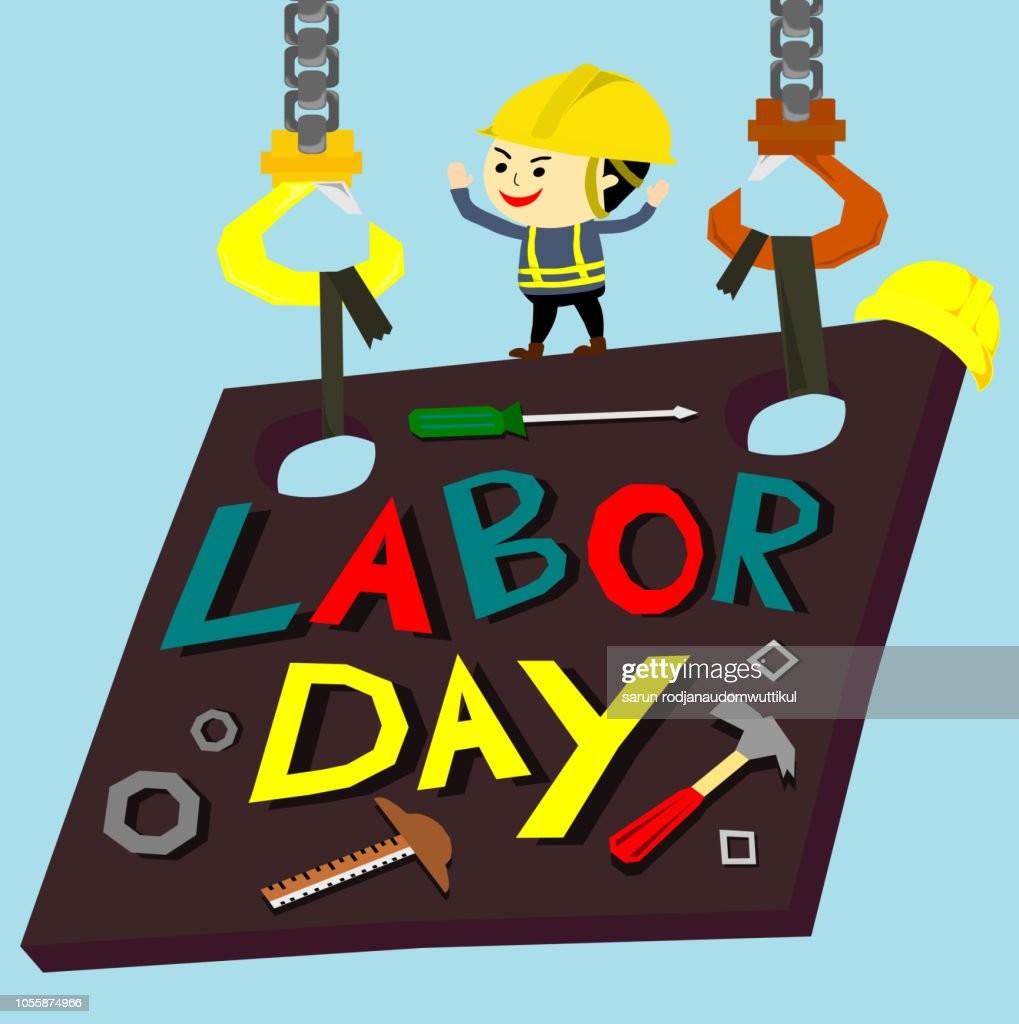 Labour day background with worker on metal plate