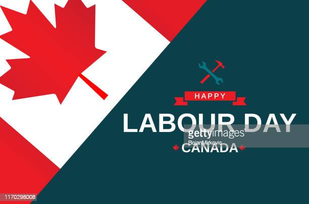 labour day canada greeting card. vector - labour day stock illustrations